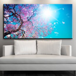 $enCountryForm.capitalKeyWord Australia - ZZ1554 beautiful canvas posters and prints art Cherry blossoms sunshine canvas pictures oil art painting for livingroom unframed