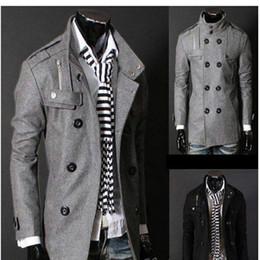Button trench coat men online shopping - Black Grey Men s Wool Coat Double Breasted Shoulder Epaulets Long Trench Coats Dropshi