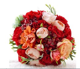 Barato Bouquets De Noiva Artificiais Rosas Vermelhas-Handmade Top Quality Bride Bridal Wedding Bouquet dama de honra Europa Us Red Rose Callas Artificial Flower Wedding Flowers