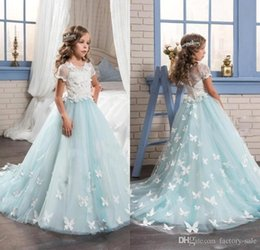 Barato Vestido Novo Das Crianças Dos Toddlers-2017 New Mint Flower Girls Dresses com mangas curtas Full Butterfly Girls Kids Birthday Prom Wears Toddler Pageant Dresses