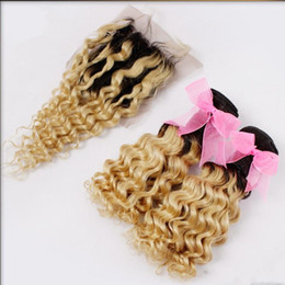 virgin hair 3pc bundles 2019 - Dark Roots Blonde Deep Weave Ombre Virgin Hair With 1Pc Lace Closure With 3pc Bundles 1B 613 Ombre Peruvian Human Hair c