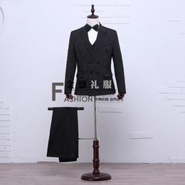 Men S Long Wedding Suit Canada - Hot Sale Black Long Sleeves Wedding Stage Performance Men's Suit Medieval Renaissance Chinese tunic Suit & Blazer Costumes S-2XL