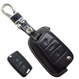 ibiza sticker Canada - CarLeather Key Case Bag Fob Cover For Volkswagen VW Golf 7 MK7 GTI Skoda Octavia A7 A 7 2014 2015 2016 SEAT Leon Ibiza key chain