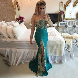 Barato Trombeta De Sereia De Lantejoulas-Custom Made Green Mermaid Evening Dresses Long Sleeve Side Split Gold Appliques Sequins Trumpet Long Prom Gown Sweep Train