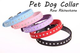 cat collar cute Australia - Adjustable Row Rhinestone Dog Collar Diamante PU Leather Pet Dog Cat Puppy Bling Collars Cute Lead Leash 3 Sizes Available