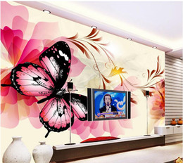 Modern Pattern Fabric Canada - Modern dream butterfly pattern background wall mural 3d wallpaper 3d wall papers for tv backdrop