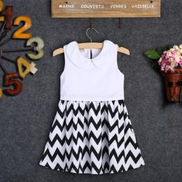 Black White Striped Clothing Canada - Newborn Kids Girl Clothing Baby Girls Princess Chervon Sleeveless Summer Party Black And White Striped Dress Sundress 2-7Y