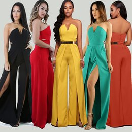 Barato Calças Largas À Noite-Mulheres Summer Overalls Wide Leg Romper Jumpsuit Brand Split Long Pant Sexy Off Shoulder Evening Party Elegante Jumpsuit Zipper 2018