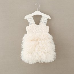 Wholesale Girls Ball Gown lace fashion little girls knee length princess party dress kids tiered tulle TUTU dress children bridesmaid dresses T3494