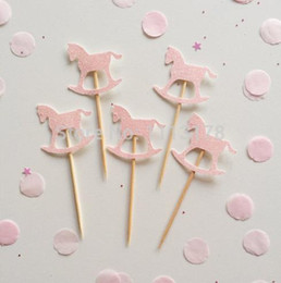 $enCountryForm.capitalKeyWord Canada - Wholesale 30pcs custom personality Rocking Horse Glitter Cupcake Toppers baby shower birthday cake toothpicks wedding