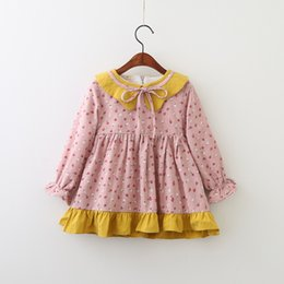 Barato Impressões Florais Ocidentais-Everweekend Kids Girls Western Cute Print Flowers Ruffles Tutu Princess Dress Baby Sweet Cute Bow Lovely Dress Clothing
