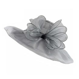 bfae09a47837c Elegant Fashion Women s Church Hats For Women Flower Hat Summer Sun Hat  Wedding Wide Brim Sea Beach Caps