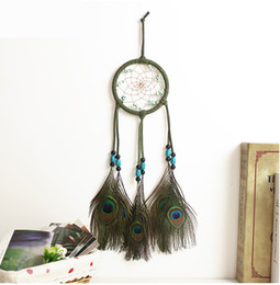 Wooden Art Model Canada - Dream Catcher peacock feather model home accessory wooden bead beautiful arts for car beadroom reading room