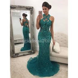 $enCountryForm.capitalKeyWord NZ - Hunter Evening Prom Dresses Mermaid Formal Celebrity Gowns Illusion Bodice Major Beaded Dress for Party Homecoming