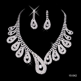 Wholesale 15042 Cheap Hot Sale Womens Bridal Wedding Pageant Rhinestone  Necklace Earrings Jewelry Sets for Party 53da200aad5f