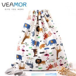 Backpack Zoo Canada - Wholesale- VEAMOR irls Shoulder Bags Drawstring Travel Canvas Bags Zoo Cartoon Backpack Women Shoes Storage Bags WB495