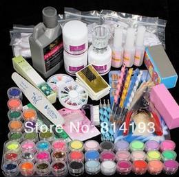 Nail discouNt online shopping - Discount hot Acrylic Powder Liquid Brush Glitter Clipper Primer File Nail Art Tips Set Kit