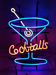 """Cocktail Light Sign Canada - 17""""x14"""" COCKTAILS HANDCRAFTED CUSTOM GLASS TUBE BEER BAR PUB CLUB NEON LIGHT RESTAURANT DISPLAY SIGN Signage"""