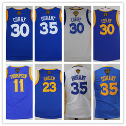 4a0a58d7319 2017 Finals Patch Youth 35 Kevin Durant Jersey Boys 30 Stephen Curry Blue  11 Klay Thompson Kids 23 Draymond Green Final Basketball Jersey ...