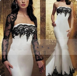 Barato Jaquetas De Vestido Formal Branco-2017 New Modest Sheer Lace Jacket Evening Dress Preto e branco Mermaid Beaded Appliques Vestidos de festa formal com manga longa Bolero 728