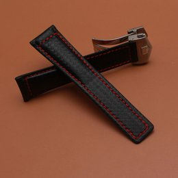 Replacement Bracelet Watch Bands Canada - Genuine leather bracelet Watchband Carbon fiber grain Red stitching 20mm 22mm watch band strap accessories Silver folding clasp replacements