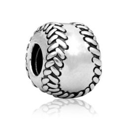 $enCountryForm.capitalKeyWord UK - Wholesale 30pcs Baseball Charm Silver European Charms Bead Fit Pandora Bracelets Snake Chain Fashion DIY Jewelry Christmas Gifts