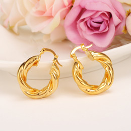 girls wearing earrings NZ - 2017 New Big Hoop Earrings Pendant Women's wedding Jewelry Sets Real 24k yellow Solid Gold GF Africa Daily Wear Gift Wholesale