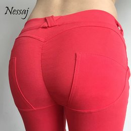 Habillement Pas Cher-Vente en gros - Nessaj High Qualtiy Basse taille Push Up Casual Big Hip Leggings Pour Fitness Femmes Sexy Pants Bodybuilding Vêtements Jegging Leggins