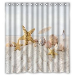 Customs 36 48 60 66 72 80 (W) X 72 (H) Inch Shower Curtain Sand Seashells  Starfish Waterproof Polyester Fabric Shower Curtain