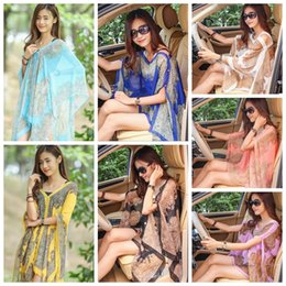 Discount beach shawl sleeves - Paisley Sarong Scarves Sunscreen Shawl Print Bikini Cover Ups Women Poncho Beach Towels Fashion Wrap Sexy Pashmina Swimw