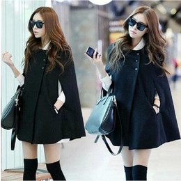 black lady trench coats Australia - 2016 Winter Women Casual Women Cape Black Batwing Poncho Lady Winter Warm Cloak Trench Coat Women Cardigan A402