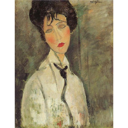 Landscaping Ties NZ - Art Gift oil paintings by Amedeo Modigliani Woman with a Black Tie Hand painted portrait art abstract High quality