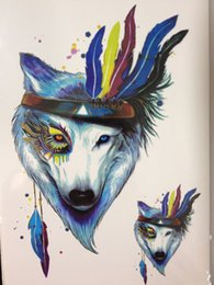 444c5b2e5b584 Wholesale- 2016 HOT SALE Blue Wolf With Feather Sexy Cool Beauty Tattoo  Waterproof Hot Temporary Tattoo Stickers #179