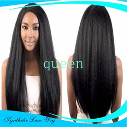 Lace wig 1b yaki straight online shopping - cosplay synthetic wigs yaki straight b color heat resistant italian kinky synthetic lace front wig For black women
