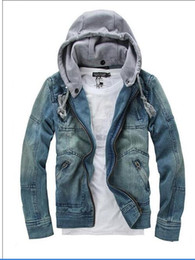 Wholesale plus size peplum coat resale online - New Spring Removable Hat Jean Jacket For Men Casual Mens Designer Jackets Hoodie M XXXL Plus Size Men Clothing Coats D13