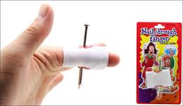 wholesale 2pcs convenient new prank joke toy fake nail through finger trick halloween kids children gags practical jokes