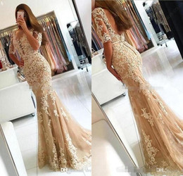 Discount beaded half prom dress - Vestido de festa Modern Long Champagne Mermaid Lace Prom Dresses 2017 Sexy Backless Half Sleeves Evening Dress Party Gow