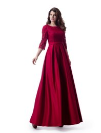 Light coraL Lace dress Long online shopping - Dark Red Lace Satin Long Modest Bridesmaid Dresses With Sleeves A line Country Temple LDS Wedding Bridesmaid Robes Custom Made New