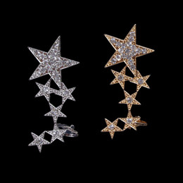 star piercings Australia - clip on earrings no pierced ear cuff masculino women earrings star rhinestone ear jacket wrap earcuff brincos gold silver color