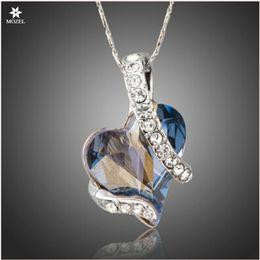 Atacado MOZEL Swarovski Elements Para Sempre Amor Luz Coração Azul Cristal Austríaco Clássico Pingente Colares para Presente de Amor Dia dos Namorados em Promoção