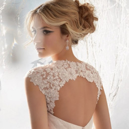Barato Casaco De Casaco De Renda De Casamento-Unique Design Wedding Bridal Wraps Casacos 2017 Mais novo Design Lace Applique Bolero Jacket Bridal Accessories Casamento Eventos Xaile