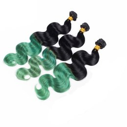 3pc brazilian remy hair online shopping - Ombre brazilian body wave hair weave remy human hair B green two tone hair human bundles body wave pc