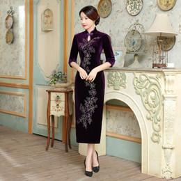 $enCountryForm.capitalKeyWord Canada - 2019 New high quality elegant plus size 3 4 long sleeve 100%velvet embroidery purple blue wine red long cheongsam wedding dress qipao