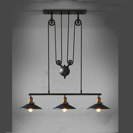 retractable wire 2019 - Vintage Iron RH Loft Industrial Pendant Lamp American Country Pulley Pendant Lights Adjustable Wire Lamps Retractable Ba