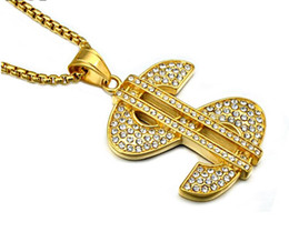 $enCountryForm.capitalKeyWord Canada - MCW Gold Color Titanium Stainless Steel Micro Pave Rhinestone Bling Bling US Dollars Pendants Necklaces for Men Jewelry