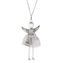 Girl doll necklaces online shopping - 4 Colors Lovely France Doll Necklace Pendants Angel Wings Doll Pendant New Fashion KeyChains Jewelry For Women Girl Styles Accessories Gifts