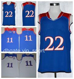 570ac9eeed05 ... Men Basketball Kansas Jayhawks Jerseys College 11 Josh Jackson 22  Andrew Wiggins Jersey Blue White Sport .