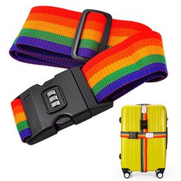 Belt Locks Canada - New Rainbow-Colored Travel Luggage Suitcase Strap Baggage Backpack Belt with Coded Lock Climbing Travel Quickdraws Accessories