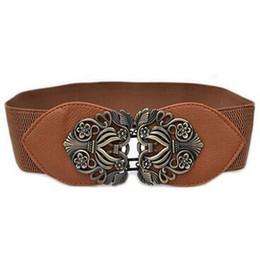 $enCountryForm.capitalKeyWord UK - Wholesale- Women Fashion Vintage Wide Elastic Stretch Buckle Waist Belt Waistband brown