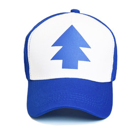 417e9c47599 2017 Fashion Gravity Falls Baseball Cap BLUE PINE TREE Hat Cartoon Trucker Snapback  Cap New Curved Bill Dipper Adult Men Dad Hat